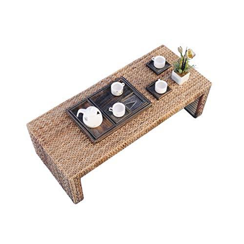 Tables Basse Baie Vitrée Basse Tatami D'ordinateur en Rotin Brun Créative Simple Salon À Thé Moderne Basses (Color : Brown, Size : 80 * 50 * 38cm)