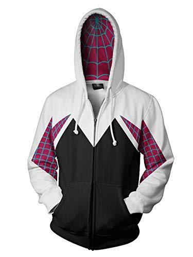 Piezone Womens Superhero Hoodies 3D Zip Up Hooded Sweatshirts Unisex, M White