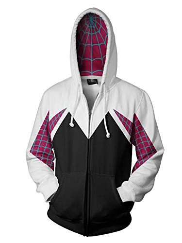 Piezone Women Cosplay Superhero Jacket 3D Printed Zipper, No Color, Size No Size