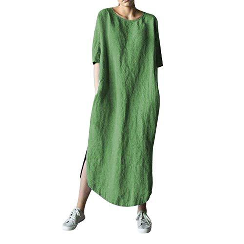 NPRADLA Damen Übergröße Kleider Rundkragen Leinenkleider Damen Taschen Sommerkleider Knielang Kleid Kurzarm Kleid Einfarbige Lose Shirtkleider Boho Strandkleider