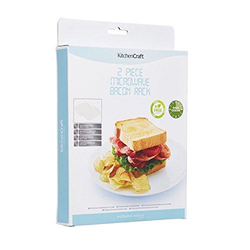 KitchenCraft Microwave Bacon Crisper, Plastic, 12 x 9 cm, Pack of 2