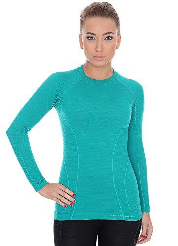Brubeck LS12810 - Maglietta da donna, in lana merino, colore: verde, taglia:...