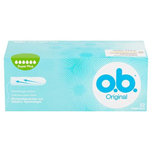 o.b. Original Super Plus Tampons mit geschwungenen Rillen / Für zuverlässigen Schutz ideal für sehr starke Tage / 32er Pack