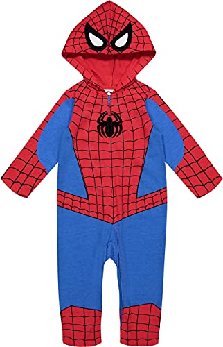 Marvel Avengers Spiderman Boys Zip-Up Hooded Costume Coverall (24 Months)