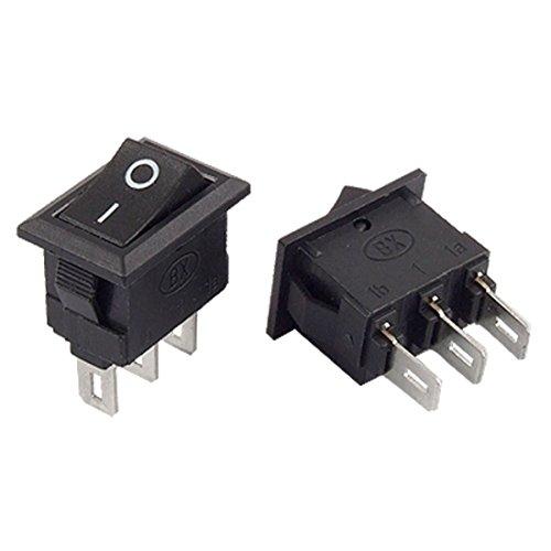10 piezas de 3 Terminal de soldadura On-On de E/S 2 Posición SPDT Mini Boat Interruptor oscilante 3A 250V AC