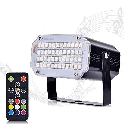 Huttoly Stroboskop Disco Licht Lichteffekte, 48 LED Strobe Licht Party Bühnenbeleuchtung Musikgesteuert Disco Strobe Lampe mit Fernbedienung Sprachaktiviertes RGB LED für Christmas Disco DJ Party KTV