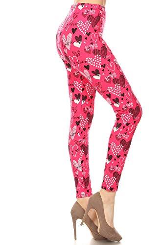 S678-PLUS Pink Love Print Fashion Leggings, Plus Size