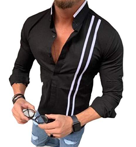 Gocgt Herren Hemd, langärmelig, Slim Fit, Knopfleiste, Muskel-Oberteil Gr. X-Large, Schwarz