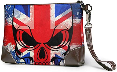 GLGFashion Kupplungsbrieftasche Cool British Skull Leather Wristlet Clutch Purses Bag Crossbody Clutch Wallet Handbags For Women