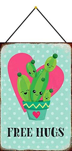 NWFS Spruch Free Hugs! Kaktus süß Blechschild Metallschild Schild Metal Tin Sign gewölbt lackiert 20 x 30 cm mit Kordel