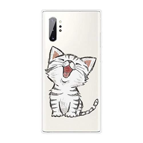 Miagon Transparent Hülle für Samsung Galaxy Note 10 Plus,Lachen Katze Muster Kreativ Süße Durchsichtig Klar Soft Ultra Dünn Silikon Case Cover Schutzabdeckung