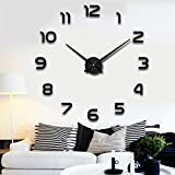 Reloj de pared, Relojes de pared 3D DIY Reloj Acrílico Espejo Etiquetas de Cuarzo Aguja Auto Adhesivo Reloj Colgante Decoración del hogar Sala de estar (Color : Black, Sheet Size : XL 100 120CM)