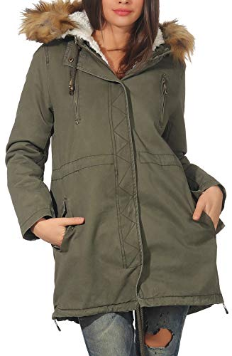 Malito Donna Foderato Parka Cappuccio Trenchcoat Cappotto-Invernale 81099 (S, Oliva 81103)