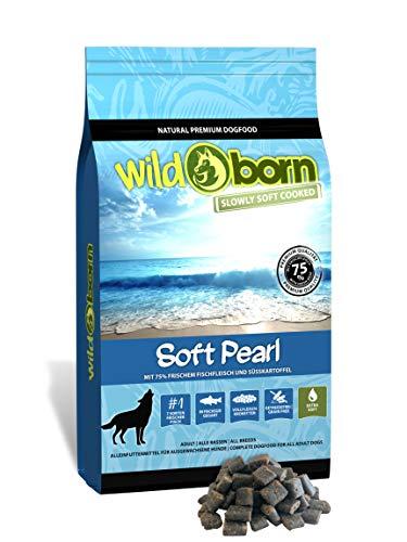 Wildborn Soft Pearl 12 kg getreidefreies Hundefutter mit 75% frischem Fischfleisch | Halbfeuchtes Trockenfutter für Hunde | getreidefreie Rezeptur aus Deutschland