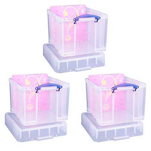 Really Useful Aufbewahrungsboxen 3er-Pack 35 Litre XL transparent