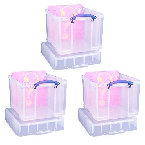 Really Useful Aufbewahrungsboxen 3er-Pack 35 Litre XL transparent