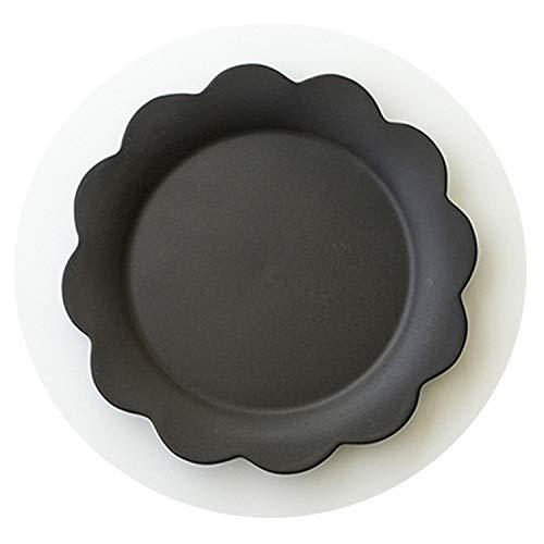 Solid Flower Shape Porcelain Dinner Plate Sets Fruit Snack Salad Ceramic Plate Cake Dessert Dish Black White Kitchen Accessories,Black Dish
