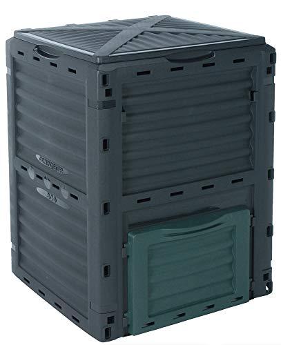 Schauer Gartenkomposter 300 Liter Kunststoff Schnellkomposter Thermokomposter Kompost Abfall Box Kompostierer mit Deckel verschließbar grün