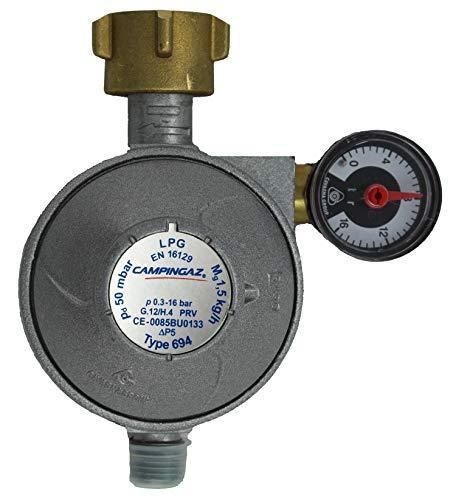 Campingaz Universal Sicherheitsregler 50 mbar mit Manometer und Ablassventil, Blau, 15 x 5 x 5 cm