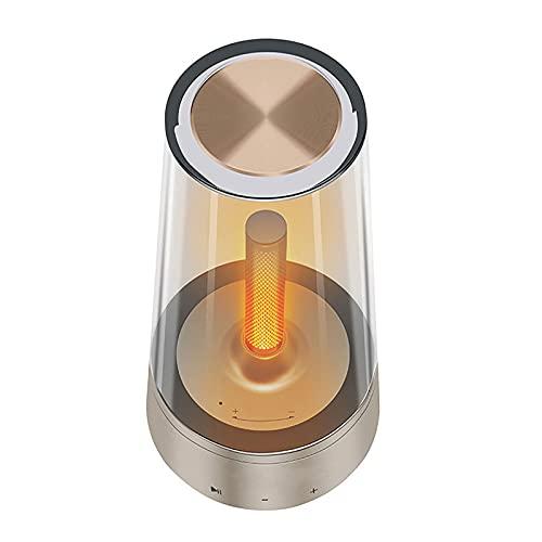 BMDHA Altavoz Bluetooth Potente,Altavoces Luz De Noche InaláMbrica, Altavoces Bluetooth Vela Respirar Altavoces Bluetooth CáLido RomáNtico Radiio FM Bajo LáMpara De Noche