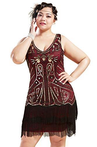 BABEYOND Vestido de Mujer de los años 20s, Talla Grande, Escote en V, de Doble Capa, con Lentejuelas, de Gatsby(Vino Rosso Dorado,3X)