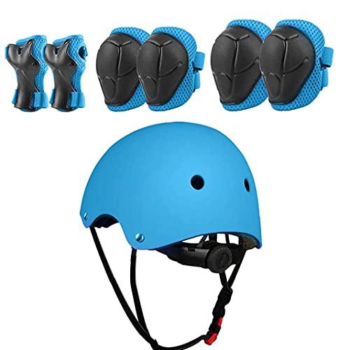 sevenjuly Traje De Protección Infantil Scooter Gear Set del Casco De Ciclista Rodilleras del Codo Rosa Protección para Niños 7pcs