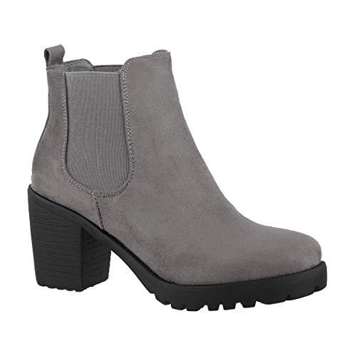Elara Damen Stiefeletten Ankle Boots Chunkyrayan Neue-KA523-1sl Grey-39