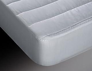 Burrito Blanco Protector de Colchón Acolchado y Transpirable Algodón 100% para Cama de Matrimonio de 135x190 cm hasta 135x200 cm, Color Blanco
