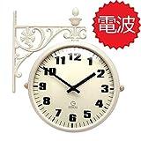 両面電波時計 両面時計 Interior Double Face Wall Clock おしゃれな インテリア 両面壁掛け時計 電波両面時計 M195 Iv-IA