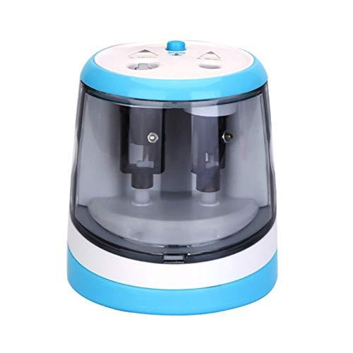 Winnes Sacapuntas eléctrico de doble orificio, parada automática para la seguridad, sacapuntas batería para escritura y pintura para niños, escritorio y lápices de colores (azul)