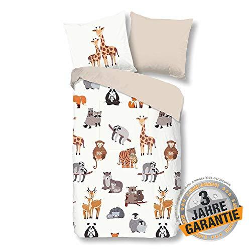 Aminata Kids Dschungel Bettwäsche 135 x 200 cm + 80 x 80 cm aus Baumwolle mit Reißverschluss, unsere Kinderbettwäsche mit Safari-Motiv ist weich und kuschelig