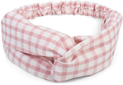 styleBREAKER Damen Haarband mit Karo Muster, Twist Knoten und Gummizug, Stirnband, Headband, Pinup, Rockabilly 04026037, Farbe:Rose-Weiß