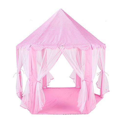 Tienda de juegos para niños Castillo de cuento de hadas -Toddler Play House para niños, tienda de campaña hexagonal al aire libre e interior Gasa Anti-mosquito Tienda de campaña portátil Juguete para