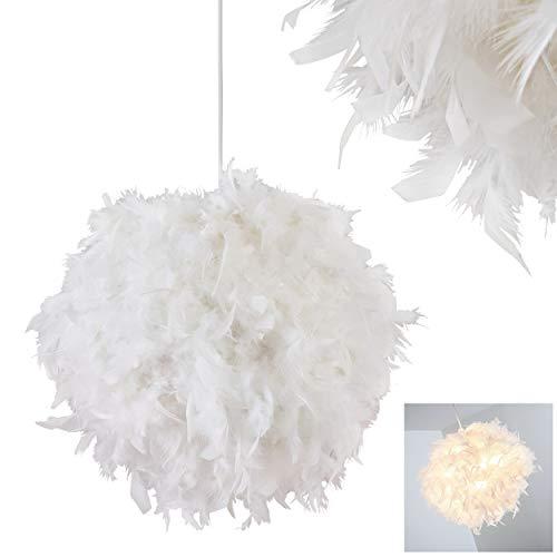 Pendelleuchte Skaulo, moderne Hängelampe aus Metall/Kunststoff mit Federn in Weiß, Ø 45 cm, Höhe 130 cm (kürzbar), E27 max. 40 Watt, Hängeleuchte geeignet für LED Leuchtmittel