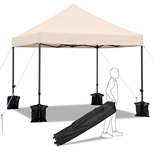 costoffs Adjustable Commercial Pop Up Gazebo Instant Tent 3 X 3M Waterproof Garden Wedding/Camping Party Canopy Shelter Oudoor with 4 Sand Bags and a Wheeled Carry Bag Beige