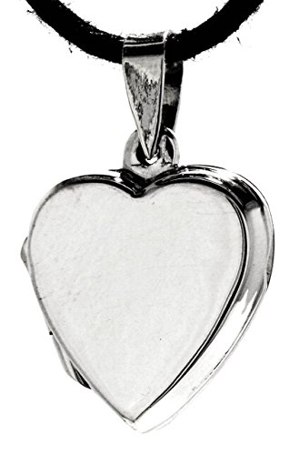 Kiss of Leather Herz Medaillon aus 925 Sterling Silber mit Baumwollband