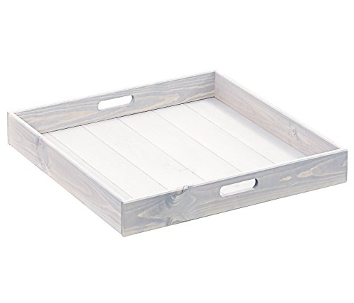 Dehner Tablett Kar, ca. 58 x 58 x 6 cm, Holz, weiß