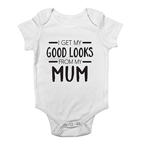 Promini Combinaison pour bébé avec inscription « I Get My Good Looks from My Mum » - Blanc - 9 mois