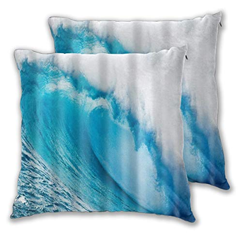 ALLMILL Federe Cuscino 60x60cm,2 Pezzi Sea Wave Pattern Stampa Digitale Decorativo per Auto Sofà Divano Ufficio Salotto Home Decor