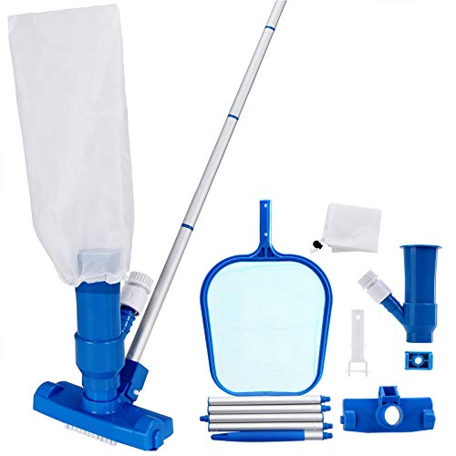 Deuba® Reinigungsset Pool Set Schwimmbecken Zubehör | Vakuum Sauger + Auffangbehälter | variabel verlängebare Stange | einfach im Handling