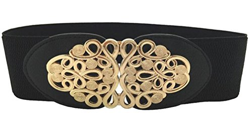 Women Elastic Stretch Wide Waist Belt in Classic Vintage Style Twisted Designed Buckle (black)