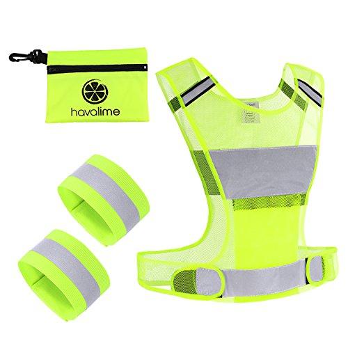 havalime Sicherheits-Reflektoren Set bestehend aus Sicherheitsweste Warnweste zum Motorradfahren Laufen Joggen 2 Reflektorbänder für Hand- und Fußgelenke (L/XL)