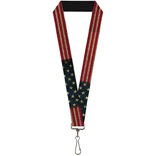 "Buckle-Down Unisex-Adult's Lanyard - 1.0"" - Vintage Us Flag Stretch"