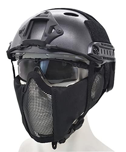JFFCESTORE PJ Type Tactical Multifunctional Fast Helmet and Foldable Adjustable Half Face Mesh Mask (Black)