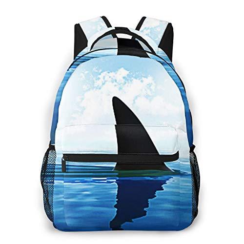 Laptop Rucksack Schulrucksack Schwimmen Haifischflosse Oben, 14 Zoll Reise Daypack Wasserdicht für Arbeit Business Schule Männer Frauen