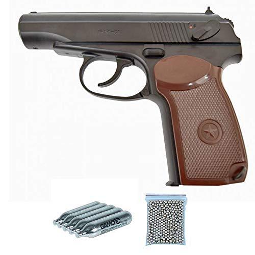 PM-X Borner Pack Pistola de balines (perdigones Bolas de Acero BB's). Arma de Aire comprimido CO2 4,5mm - Réplica de Makarov Rusa. Potencia: 2.55 Julios.