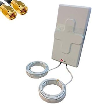 Antena 4G Wonect 50dBi Blanca Exterior 5,10 o 15 Metros Cable Conector SMA Macho Integrado Largo Alcance. Mejora señal Router 4G. Compatible Routers ...