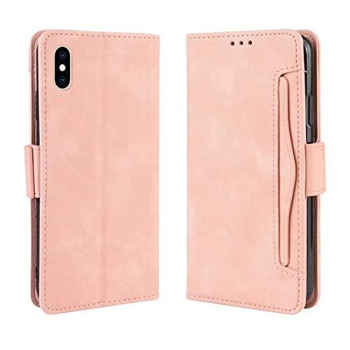 para iPhone Xs Max, con función inteligente, tarjeta de identificación, tapa magnética, función de soporte, costura, funda protectora a prueba de golpes, funda antideslizante (color: rosa)