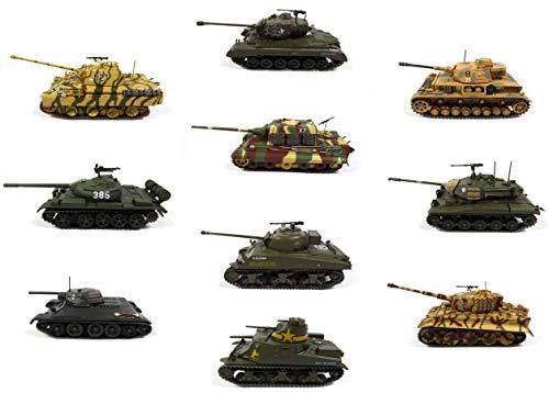 - Lote de 10 Tanques Militares 1:72 Panther + Tiger I + M26 Pershing + JADTIGER + Type 59 + M3 Lee + Pz.Kpfw. IV Ausf. G (sin Caja)