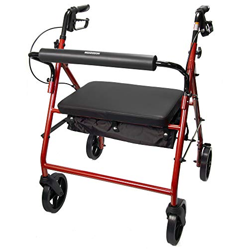 McKesson Bariatric Rollator Folding Steel 400 lbs. 34 to 39 inch Handle Height 146-10216RD-1